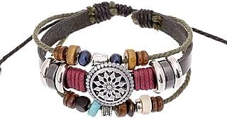 Arstna Handmade Braided Leather Bracelet Unisex Women Men Cuff Bangle Adjustable Wristband Wrap