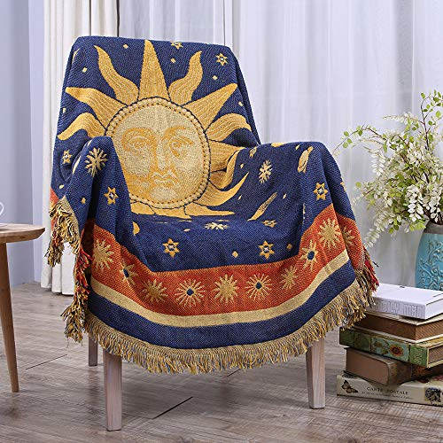 """Erke Moon and Sun Throw Blanket Featuring Decorative Tassels, Double Sided Cotton Woven Couch Bed Hippie Throws Cover - 50"""" X 70"""", Yellow / Blue"""