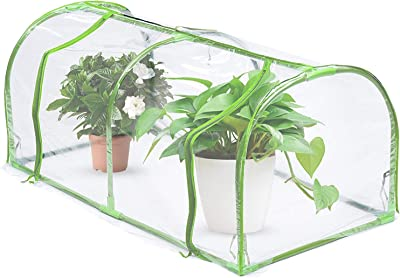 Iceyyyy Mini Greenhouse Replacement Cover, Transparent Waterproof PVC Garden Cover with Roll-Up Zipper Door, Garden Plant Green House Cover (Frame NOT Include)