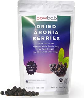 powbab Dried Aronia Berries from 100% USA Grown Organic Aronia Cherries. No Added Sugar. Not Freeze Dried, Not Frozen. Mad...