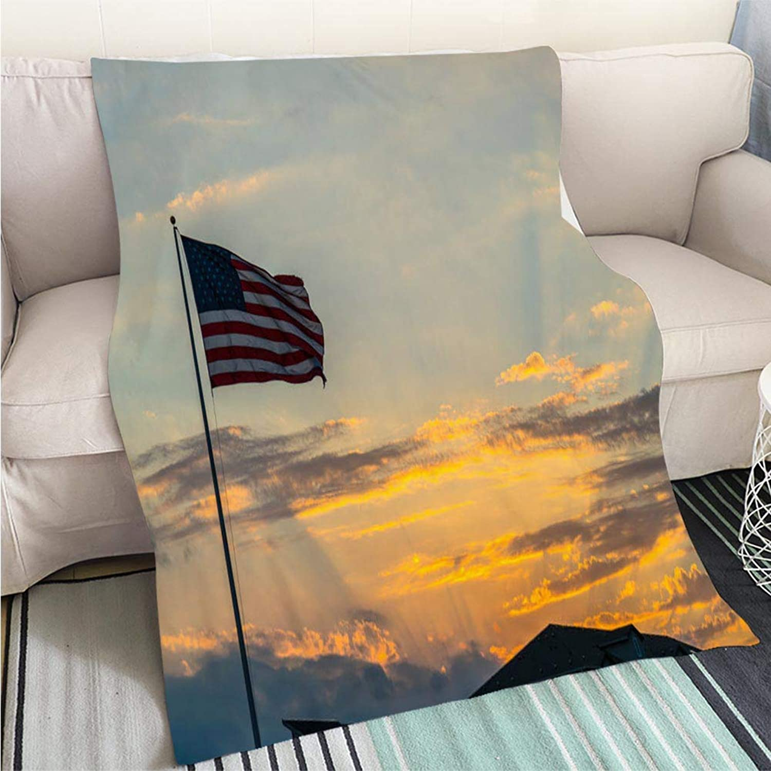 BEICICI Comforter Multicolor Bed or Couch American Flag Waving Right After Sunset Sofa Bed or Bed 3D Printing Cool Quilt