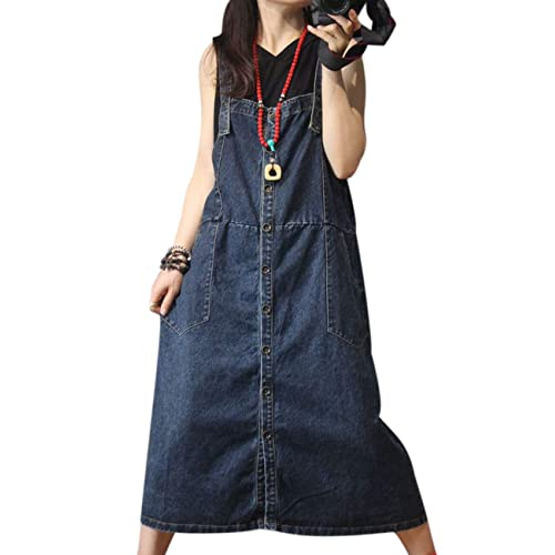 4a479ab12f YESNO YL6 Women Long Maxi Denim Overalls Dress Swing Skirt Color Block  Stitched Scratch Distressed Unique