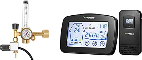 lowest VIVOSUN Hydroponics CO2 Regulator Emitter System with Solenoid Valve wholesale Flowmeter for lowest Grow Room and Wireless Indoor Outdoor Thermometer Hygrometer outlet online sale