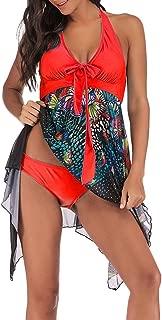 Photno - Bañador para Mujer con Estampado Grande y Cuello Alto y Sexy, Conjunto de Dos Piezas