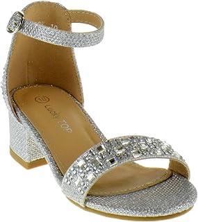 33f3cb0de5805 Lucky Top Jill 18K Little Girls Rhinestone Glitter Heeled Open Toe  Gladiator Sandals