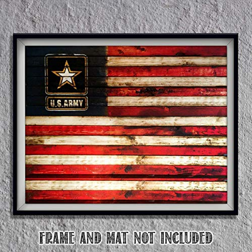 US Army Logo on USA Flag- Rustic Poster Print- 10 x 8'- Wall Art Prints- Ready To Frame- Distressed Flag Sign Replica Print. Home-Office-Military Decor. Display Your Pride & Honor and Be Army Strong.