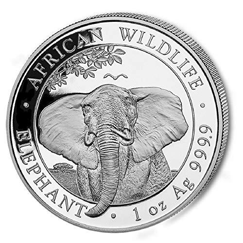 2021 Somalia 1 Oz Elefante Plata 9999 Moneda de plata fina