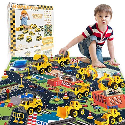 HapeeFun-8 en 1vehículos de construcción de jugue, Montar y Desmontar, Camiones de Juguetes con tapete de Juego de 27.6 * 31.5ins y Accesorios,Navidad Cumpleaño Regalos educativos para niños 3+