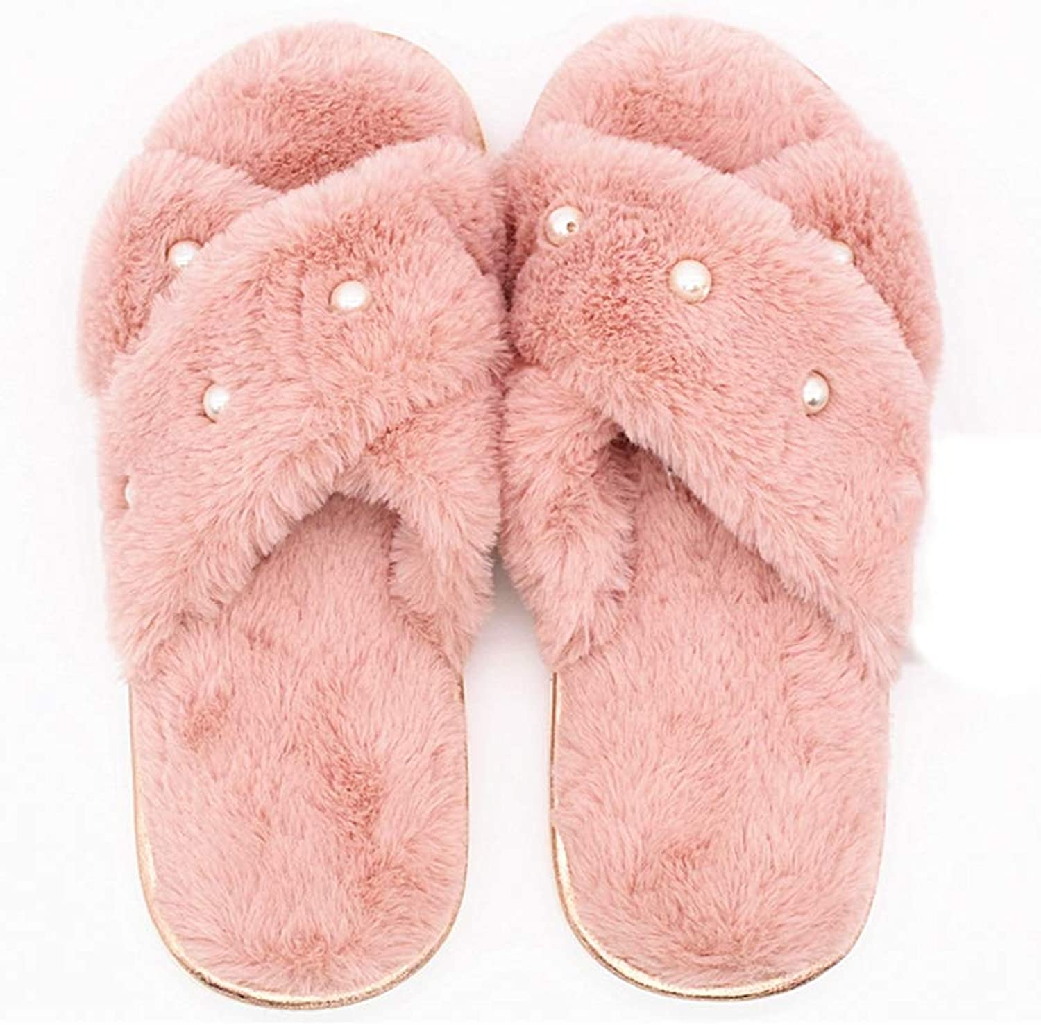 Winter Ladies Plush Home Slippers Women Indoor Warm Rabbit Fur String Bead Cross-Tied Bordered Slippers