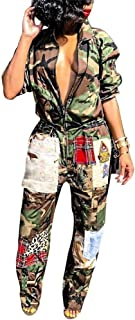 LKOUS Womens Casual Turndown Collar Camouflage Printing Short Sleeve One-Piece Jumpsuits Party Rompers