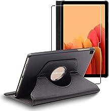 ebestStar - Coque Compatible avec Samsung Galaxy Tab A7 10.4 T505 (2020) Housse Protection Etui PU Cuir Support Rotatif 360, Noir + Film Verre Trempé [Tab S7: 247.6 x 157.4 x 7 mm, 10.4'']