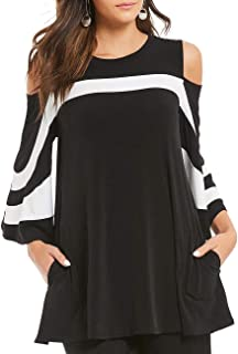 MAYFASEY Women's Cold Shoulder 3/4 Bell Sleeve Black White Colorblock Blouse Top T-Shirt