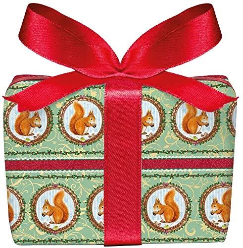 5er Set Weihnachts Geschenkpapier Bögen Eichhörnchen grün zu Weihnachten, Adventszeit, Weihnachtspapier für Weihnachtsgeschenke, Adventskalender, Format 50 x 70 cm