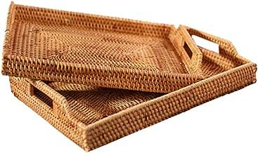 YAYADU Storage Basket Rattan Finishing Box Carry Handle Cutlery Boxs Home Party Hotel Store Kitchenware Tea Set Dessert (C...