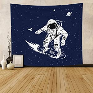 Leowefowas Outer Space Tapestry Spaceman Traveling In Universe With Skateboard Wall Hanging Kids Boy Room Decor Astronaut Wall Blanket Living Room Bedroom Home Decoration Wall Art 33.9