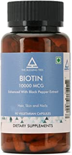 The Blessing Tree Biotin 10,000mcg Enhanced Absorption with Black Pepper Extract- 90 Veg Capsules
