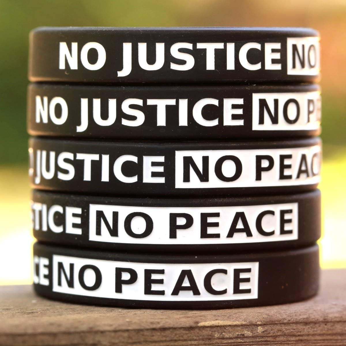 2 No Justice No Peace Wristbands Debossed Silicone Support Wrist Band Bracelets
