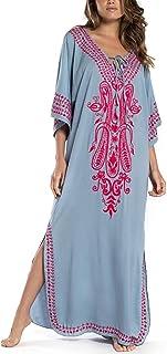 Bsubseach Women Embroidery Short Sleeve Bikini Swimsuit Cover Up Side Split Beach Kaftan Dress