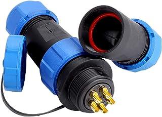Luchtvaartkabelconnectoraansluiting, waterdichte draadconnector Blauw paneelmontage Connectorstekker Elektrische kabel IP6...
