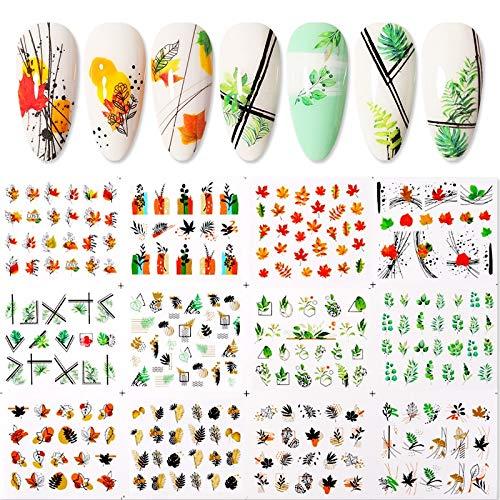 BLOUR 1 Hoja 3D Pegatina Floral para uñas Plantas Adhesivas Coloridas Flores Hermosas Pegatinas de Transferencia de uñas calcomanías decoración de uñas