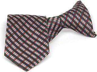 "TieMart Boys' Terracotta George Plaid Clip-On Tie, 11"" Length"
