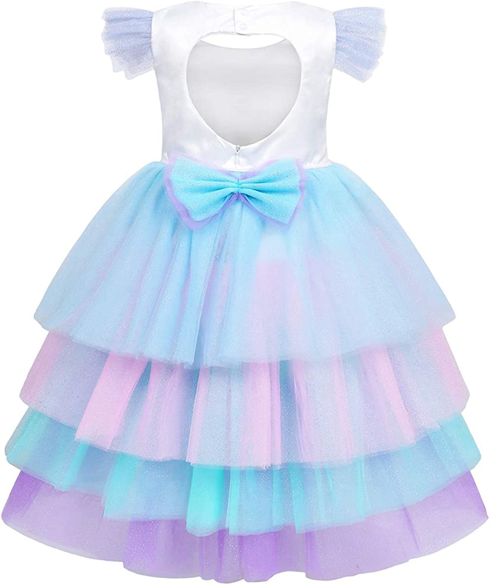 AmzBarley Girls Unicorn Outfits Birthday Party Dress Princess Rainbow Tutu Layered Dresses Halloween Clothes with Headband