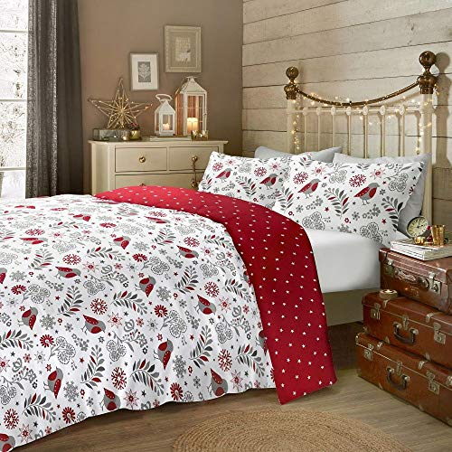 Fusion Scandi Robin Brushed Cotton Duvet Cover Set Single Size in Red