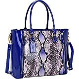 Dasein Patent Faux Leather Zipper Sides with Snakeskin Detail Satchel (Royal