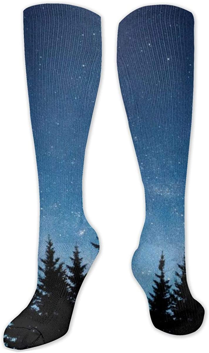 Silhouette Of Trees Starry Sky Knee High Socks Leg Warmer Dresses Long Boot Stockings For Womens Cosplay Daily Wear