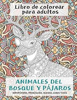 Animales del bosque y pájaros - Libro de colorear para adultos - Hipopótamo, probóscide, iguana, lobos y más