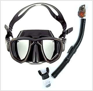 XY Swimming Goggles - Adult Snorkeling Sambo Set Full Dry Snorkel Dive Equipment Water Sports Glasses (Color : Black)