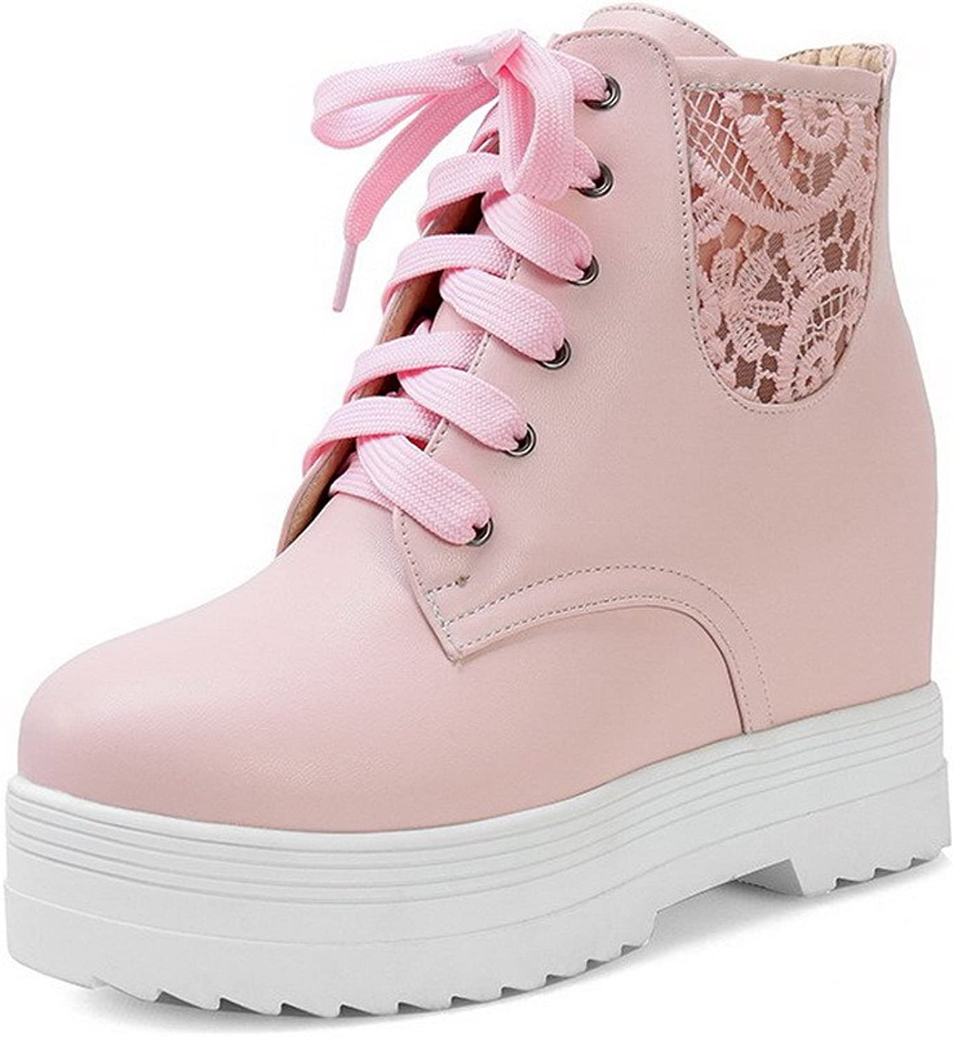 AllhqFashion Women's Kitten-Heels Soft Material Low-Top Solid Lace Up Boots