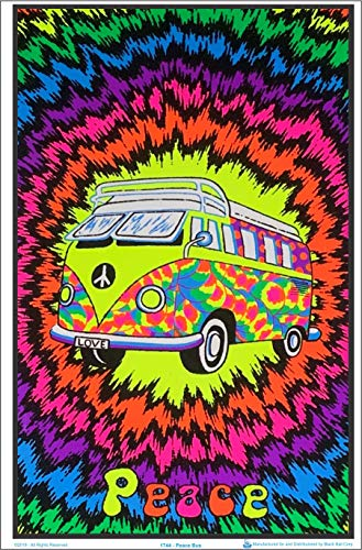 "Peace Bus Blacklight Poster - Flocked - 23"" x 35"""