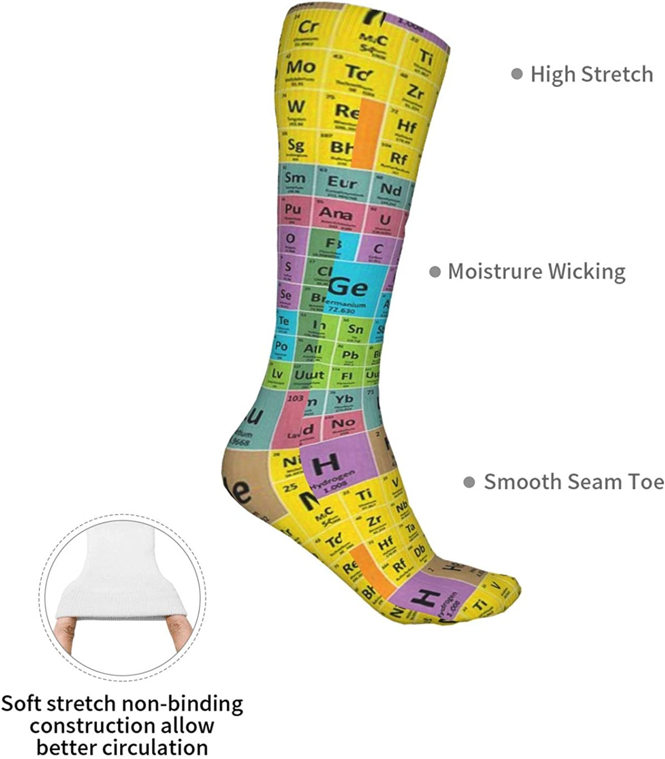 Periodic Table Of Elements Women Premium High Socks, Stocking High Leg Warmer Sockings Crew Sock For Daily And Work