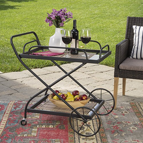 Christopher Knight Home India Outdoor Traditional Black Powder Coated Iron Bar Cart with Tempered Glass Shelves