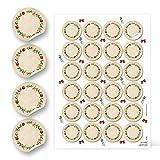 Dischetti adesivi di carta colori rosso, verde, bianco naturale, corona vintage per Natale, 4 cm, regalo natalizio, etichette per barattoli di spezie e marmellate 48 Aufkleber verde