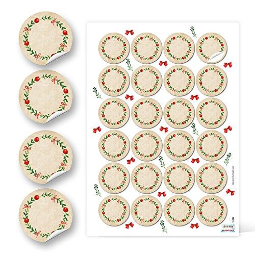 96 runde Kraftpapier ROT GRÜN blanko natur KRANZ Etiketten vintage Weihnachten 4 cm Geschenk-Aufkleber Sticker weihnachtlich Gewürzetiketten Gläser Marmeladen