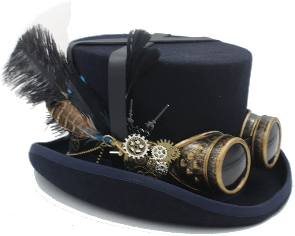 Happy-L Hat, DIY Wool Fedora Steampunk Top Hat with Millinery Steampunk Goggles for Women Men Leisure Fashion Cap. (Color : 4, Size : 55cm)