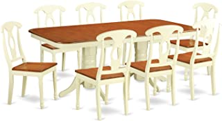 NAKE9-WHI-W 9 Pc Dining set-Table with Leaf and 8 Dining Chairs