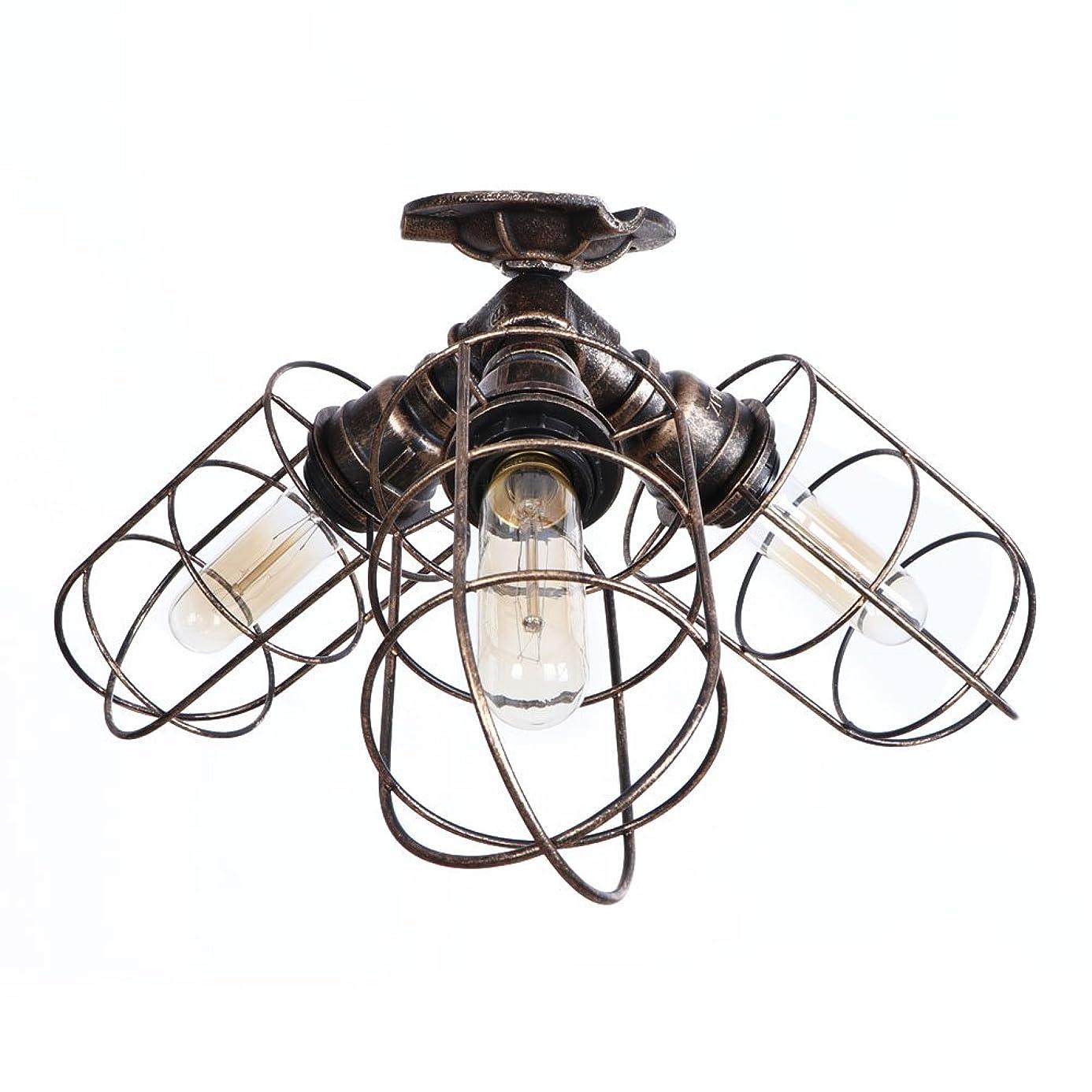HKYK Retro Ceiling Lamp, 3-Light Wrought Iron Flush Mount Ceiling Light Water Pipe Hanging Luminaire Foyer Hallway Bedroom Kitchen Farmhouse Suspension Light E27