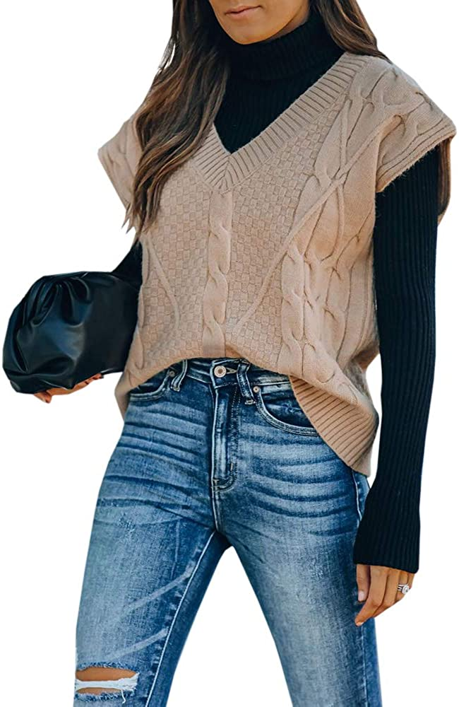 Womens V Neck Vest Sweaters Cable Knit Cute Vintage Sleeveless Pullover Sweater Tops