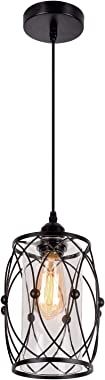 HMVPL Pendant Lighting Fixtures, Black Farmhouse Hanging Chandelier Lights with Glass Shade, Mini Industrial Ceiling Lamp for