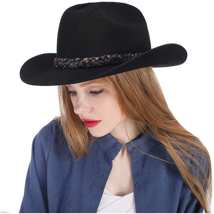 HHHCM-US Women's Black Cowboy Hat C Small Wool Felt Seasonal Special sale item Wrap Introduction 100%