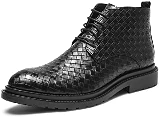 2019 Mens New Lace-up Flats Mens Fashion Ankle Boot for Men High Top Dress Shoes Pull On Microfiber Leather Round Toe Grid Embossed Lace Up Side Zipper Anki-Skid Comfortable