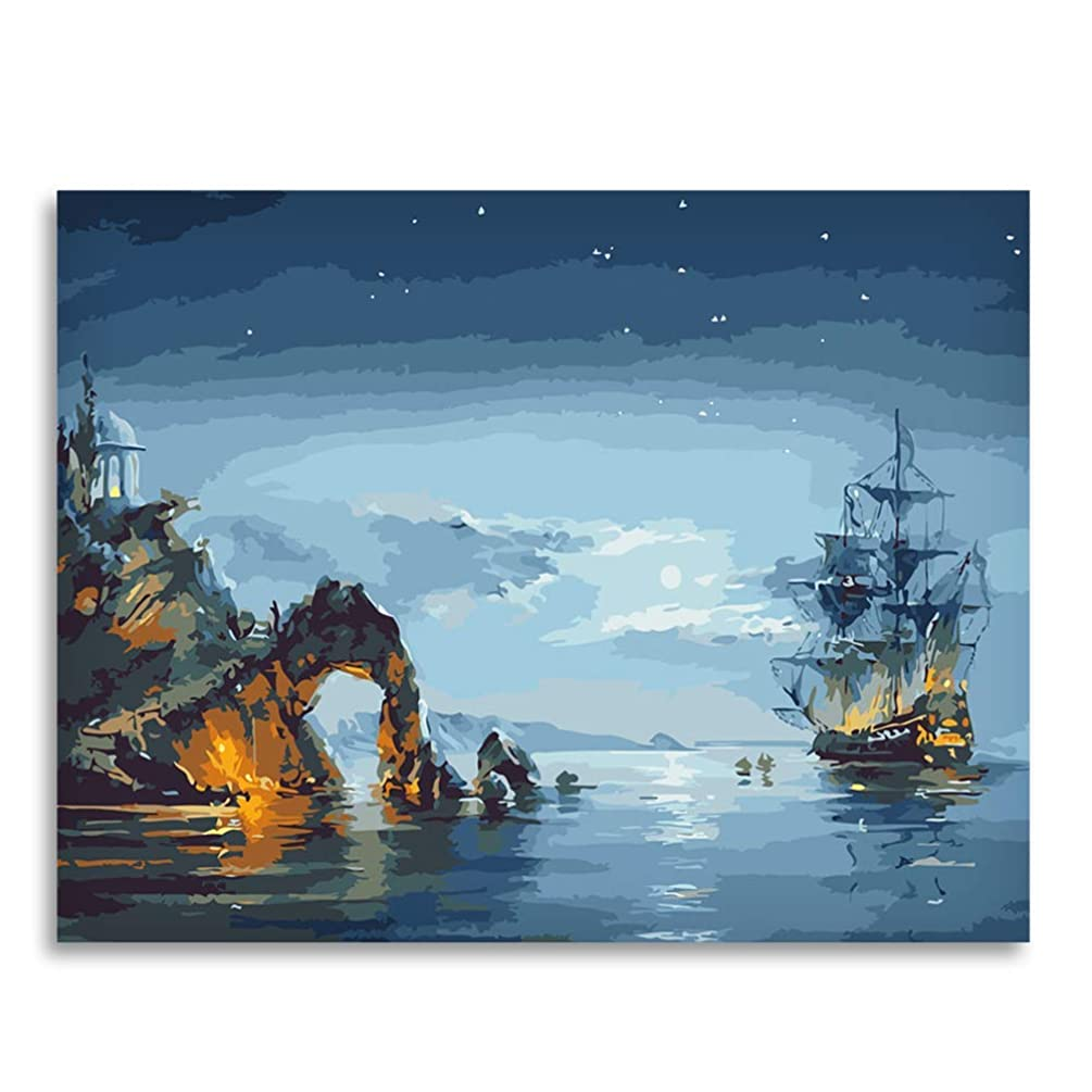 LIUDAO Paint by Numbers for Adults Kids, DIY Oil Painting Suitable for All Skill Levels Without Frame 16x20 Inch (Sailboat Sea)