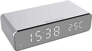 WWWL Despertador USB Digital 12/24H LED Escritorio Despertador Cargador inalámbrico para Samsung para Xiaomi para Huawei p...