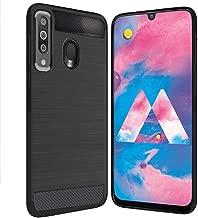 Bracevor Back Cover Case for Samsung Galaxy M30 Carbon Fiber Flexible Shockproof TPU Rugged Armor Brushed Texture - Black