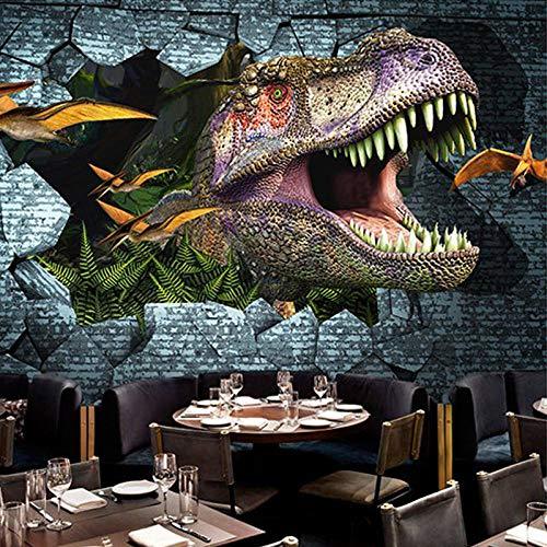 Msrahves Fotomurales decorativos Creatividad agujero en la pared dinosaurio póster 210X140CM Fotomural TV Foto Mural Pared 3DFotomurales decorativos Papel tapiz estéreo 3D Fotomurales 3D Fotomural Vin