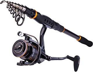 Sougayilang Fishing Rod Reel Combos, Collapsible Telescopic Fishing Pole with Spinning Reel Kit for Adults Kids Outdoor Sport Travel Freshwater Saltwater Fishing