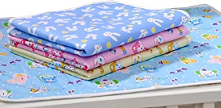 Fareto New Born Baby After Bath Oil Massaging/Cloths Changing/Diaper Changing Sheets Washable and Reusable with One Sided Cotton(0-6 Months)
